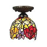 6 Zoll-Weinlese-Hirten-Rosen-Buntglas-Decken-Lampen-hängende Lampen-Wohnzimmer-Licht-Flur-Lampe