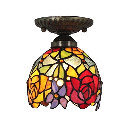 6 Tiffany Deckenleuchte (6 Zoll-Weinlese-Hirten-Rosen-Buntglas-Decken-Lampen-hängende Lampen-Wohnzimmer-Licht-Flur-Lampe)