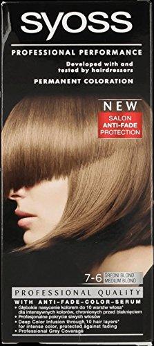 Syoss Professional Performance 7-6 MEDIUM BLONDE Hair Color 115 ml - 3er Pack (3 x 115 ml)