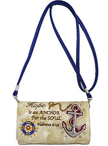 Blancho Biancheria da letto delle donne [speranza] borsa dell'unità di elaborazione di cuoio di modo elegante Borsa BLU WALLET-BEIGE