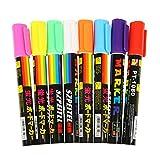 Qiansheng - Set di 8 pennarelli fluorescenti colorati, utili come evidenziatori, le scritte diventano luminose al buio, con punta di 6mm reversibile, per disegnare o scrivere menù su lavagne a LED
