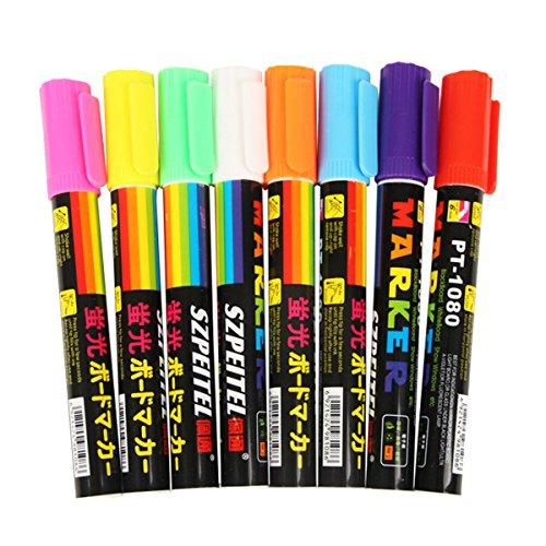 Qiansheng Set mit 8bunten, fluoreszierenden Textmarkern, Leuchtstifte, Kreidestifte, 6 mm, doppelseitige Spitze, Zeichenstifte, leuchtet im Dunkeln, für LED-Schreibtafel (Dark Glow Stifte In The)
