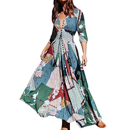 Floweworld Damen Sommerkleider Halbarm V-Ausschnitt Knopfdruck Lange Kleider Party Swing Strandkleider Neon-jigger