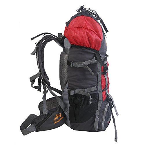 YUMOMO 55L nylon impermeabile Escursionismo Camping viaggio esterna zaino Sport Pack alpinismo arrampicata zaino Bag (rosso) rosso