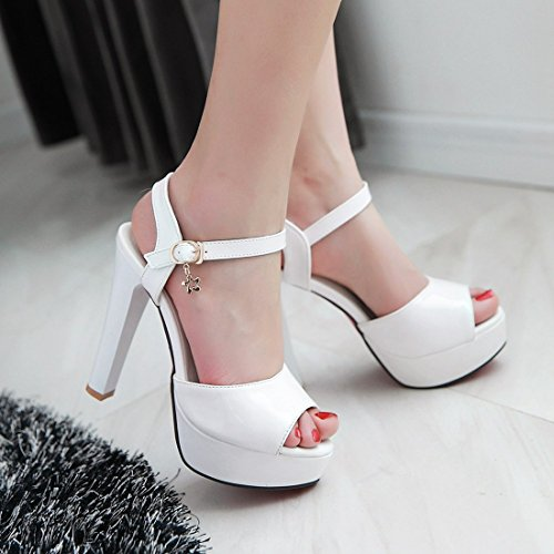 YE Damen High Heels Plateau Lackleder Peeptoes Sandalen mit Riemchen Roter Sohle Pumps Schuhe Weiß
