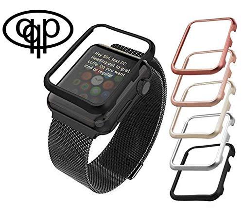 qualiquipment Aluminium Hülle kompatibel mit Apple Watch, iWatch Zubehör Case Bumper Cover Schutzhülle in den Größen 42mm/38mm für Series1, Series2, Series3 (42mm Silber)