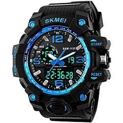 Gokelly Skmei Herren sk1155 C Multifunktional outdoor Sport Dual Time Analog Digital Armbanduhr Blau