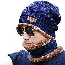Schal Mütze Set, Wintermütze Strick Beanie Wollmütze Warme Skimütze Winter Hat Gefütterte Unisex