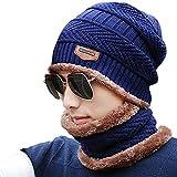 Uomo Berretto in Maglia per Inverno Caldo Cappello Beanie con Sciarpa Autunno (Blue)