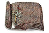 MEMORUM Grabmale Grabbuch, Grabplatte, Grabstein, Grabkissen, Urnengrabstein, Liegegrabstein Modell Prestige 40 x 30 x 8-9 cm Paradiso-Granit, Poliert inkl. Gravur (Bronze-Color-Ornament Rose 5)