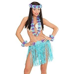 Ensemble Hawaï Jupe Raphia Déguisement Tropical Bleu Jupon Hawaïenne Couronne Fleurs Aloha Caraïbes Costume Hawaï