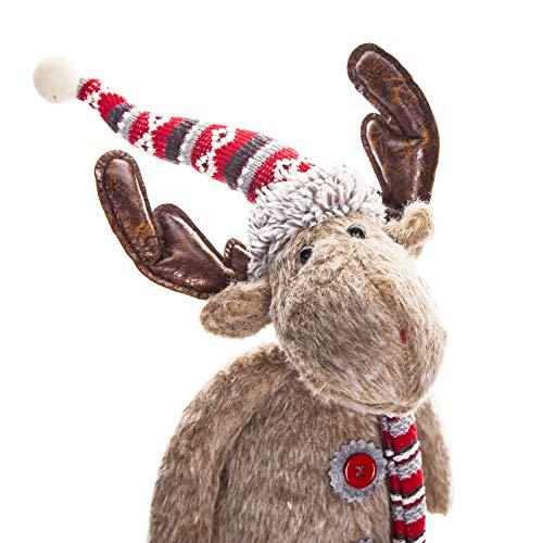 (pille gartenwelt Weihnachtsdeko Figur Elch Rentier aus Stoff mit Mantel Dekoration Weihnachten innen (Rentier))