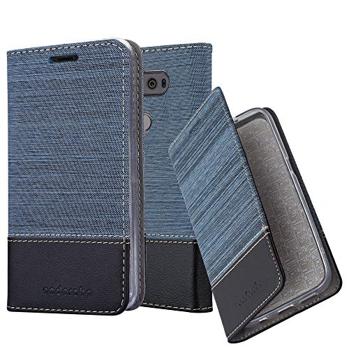 Cadorabo Hülle für LG V20 - Hülle in DUNKEL BLAU SCHWARZ – Handyhülle mit Standfunktion und Kartenfach im Stoff Design - Case Cover Schutzhülle Etui Tasche Book
