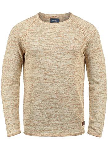 Blend Dan Herren Strickpullover Feinstrick Pullover Mit Rundhals Und Melierung, Größe:M, Farbe:Bone White/Burned Orange (71523) (Orange Leder-shirt)