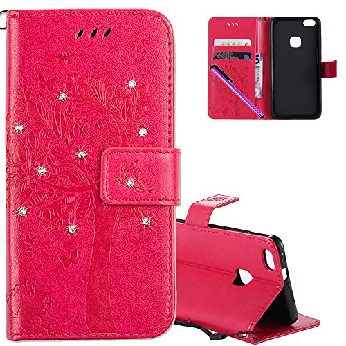 COTDINFOR Funda Huawei P10 Lite Mujer Chica Elegante Wunschbaum Patrón de impresión Suave PU Cuero Flip Cuero Billetera Estuche con tarjeta para Huawei P10 Lite Cárcasa Case Cover Delgado Caso Cover Anti-arañazo Funda Protectora para Huawei P10 Lite Rose Wishing Tree with Diamond KT.