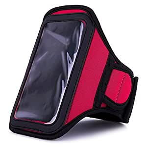 VanGoddy Red Neoprene Workout Sweat Resistant Exercise Armband for Nokia Lumia 710