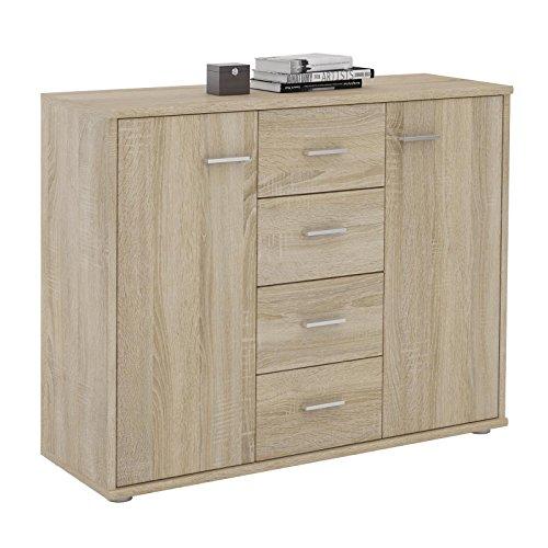 CARO-Möbel Sideboard Jamie Kommode Büromöbel mit 2 Türen und 4 Schubladen in Sonoma Eiche