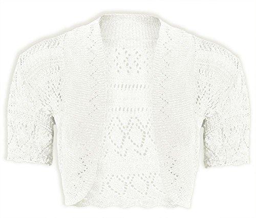New Girls Kids Short Sleeve Crochet Knitted Bolero Shrug Ladie Cardigan Crop Top Crème