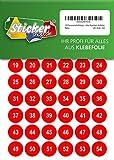 150 nummerierte Klebepunkte, 20 mm, rot, aus PVC Folie, wetterfest, Markierungspunkte Kreise Punkte Zahlen Nummern Aufkleber