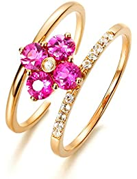 840c517de042 Anyeda Anillo Hombres Mujeres 18K Gold Flor Doble Diamante Cómodo para La  Boda