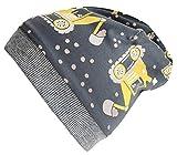 Wollhuhn Öko Jungen Warme Bagger Grau/Gelb Beanie-Mütze mit Fleecefutter (aus Öko-Stoffen, Bio), 20181014, Größe M: KU 51/53 (ca 3-5 Jahre)