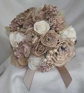 Bouquet fleurs roses artificielles en mousse beige moka mariage (211)