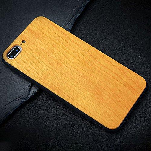 Holzhülle iPhone 7 Plus 5,5 Zoll - Ultraslim Handyhülle Echtem Holz Schutz Hülle Schale mit PC Bumper Hart Back Cover Case Etui für Apple iPhone 7 Plus Smartphone (Kirschholz) Kirschholz