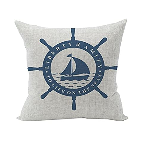 Nunubee Voyage Cotton Linen Home Square Pillow Decor Throw Pillow