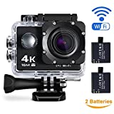 Maxesla 4K Action Kamera 16MP Full HD 170 ° Weitwinkel Wasserdichte Sports Action Cam mit WIFI 2,0...