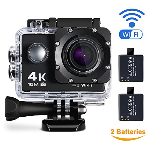 Maxesla 4K Action Kamera 16MP Full HD 170 ° Weitwinkel Wasserdichte Sports Action Cam mit WIFI 2,0 Zoll LCD Unterwasserkamera 2 Batterien Helmkamera mit Zubehör Kits für Schwimmen, Motorrad Fahren, Surfen, Tauchen, draussen usw.