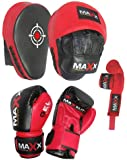 Blk/Red Curved Focus pads, Hook & Jab Pads with Gloves & FREE hand wraps