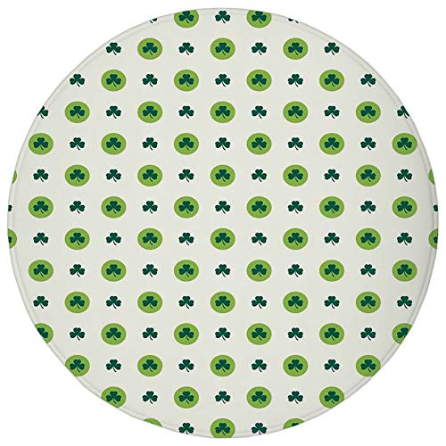 Moss Green Dot (Round Rug Mat Carpet,Floral,Clover Flowers Green Dots Cultural Irish St. Patricks Day Pattern,Lime Green Dark Green White,Flannel Microfiber Non-slip Soft Absorbent,for Kitchen Floor Bathroom)