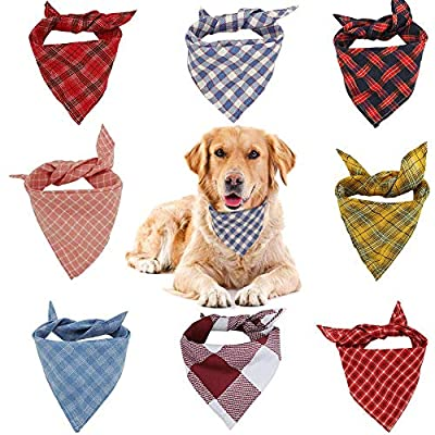 VIPITH Dog Bandana, 8 Pack Plaid Bibs Scarf, Washable Reversible Adjustable Triangle Dog Scarf Bow Ties for Pets and Cats (Random Color) by VIPITH