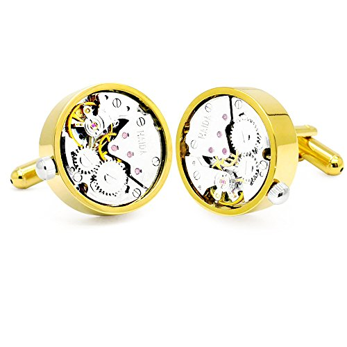 Honey-Bear-Watch-Movement-Herren-Manschettenknpfe-Cufflinks-Steampunk-Uhrwerk-Uhr-Bewegung-Edelstahl