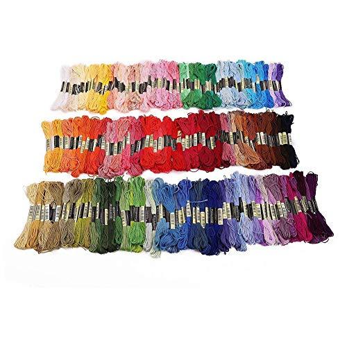 Hemore 200pcs Stickgarn Stickgarn - 7.6m 200er Nähen Baumwolle Stickgarn, Verschiedene Farbsatz für Kreuzstich, Stricken, bördeln, Kunst, Kunsthandwerk Hand Quiltgarn -