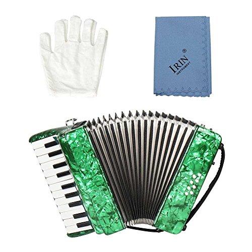 Tbest Akkordeon Kinder 22-Key 8 Bass Piano Akkordeon, Pädagogisches Musikinstrument Akkordeon mit 1 Paar Handschuhen und 1 Stück Reinigungstuch und 1 Paar Riemen für Anfänger(Grün)
