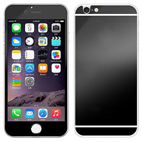 """Vanki® Luxe cristal clair avant et arrière 9H Premium Miroir Effet Couverture Complet Tempered Glass Ecran Film Protection iPhone 6 4.7"""" Noir"""