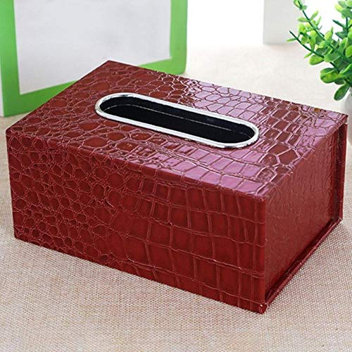 YAOJII Paper Rack Auto Fashion Home Rechteckige Lederform Tissue Box Container Serviettenhalter, Red Crocodile