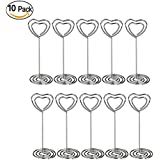 Wskderliner corazón Swirl foto Holder Clip de soporte con base – Soportes para números de mesa para boda y otras ocasiones Pack de 10