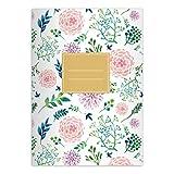 Kartenkaufrausch 4 Blüten reiche Notizheft DIN A4 Schulhefte, Schreibhefte mit Sommer Blumen in rosa grün Lineatur 21 (liniertes Heft)