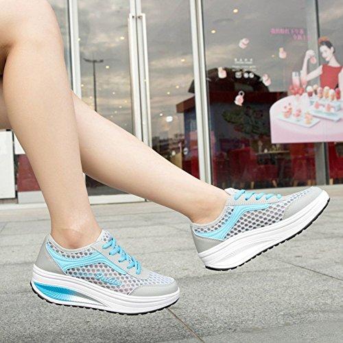 Mljsh  Platform Shoes,  Damen Durchgängies Plateau Sandalen Blau