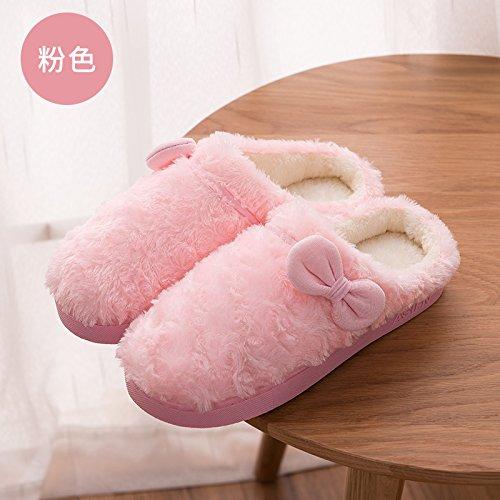 DogHaccd pantofole,Autunno Inverno Felpa cotone pantofole stare a casa un paio di anti-skid pantofole di uomini e donne di colore solido caldo cotone mop Polvere2