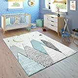 Paco Home Kinderteppich Kinderzimmer Pastell Blau Grau Berg Mond Sterne Strapazierfähig, Grösse:80x150 cm