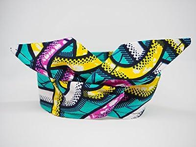 bandeau headband hairband tissu africain wax jaune bleu rose blanc