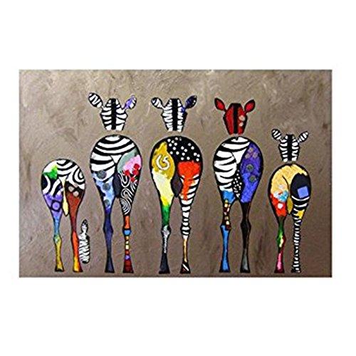 Sodial disegno ornamento pittura decorazione murale pittura a olio stampa su tela modern art frameless zebras multicolor 70 x 50cm