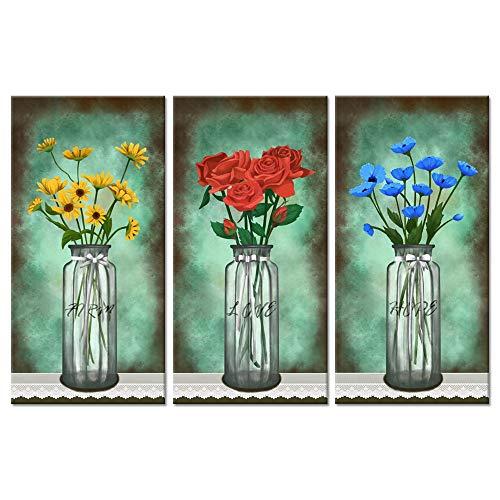 ksjdjok Vintage Blumen Leinwand Wandkunst Rote Rose Blau Mohnblumen Flora Bild Giclée-Druck Auf Leinwand Für Schlafzimmer 40X60 cm 3 Stücke Rahmenlose -