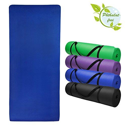 Yoga-Matte JOY 200 cm x 80 cm x 1.5 cm Yogamatte rutschfest phthalatfrei für Gymnastik Turnen Pilates extra dick, Farbe:Balance Blue