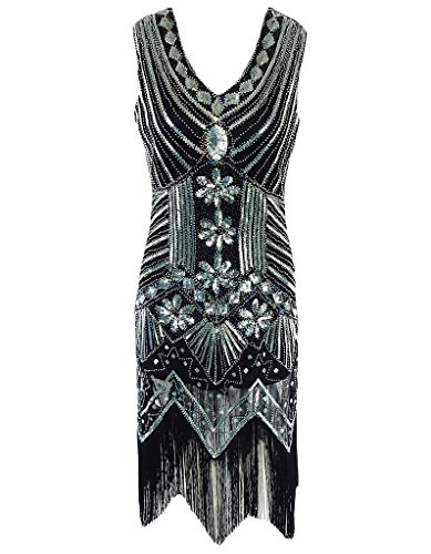 OOFIT Damen 1920er Gatsby Pailletten Kleider, V-Ausschnitt Perlen Franse Flapper Charleston Kleid, Schwarz, Gr.L(EU40)