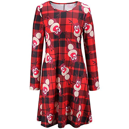 Janisramone - Robe - Robe de swing - Manches Longues - Femme * taille unique RED - Tartan Check Rudolph Print