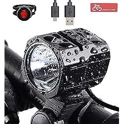 Nestling Super Bright Wasserdichte LED Frontleuchte Fahrradlicht Set mit Akku für sichere Nacht Radfahren - Free Rücklicht und Stirnband Strap,IP65 Wasserdicht (4400mAh Batterien enthalten)